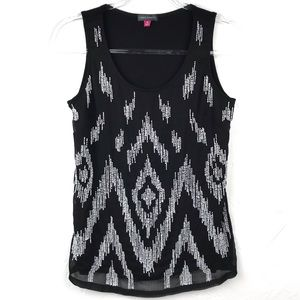 Vince Camuto Black Layered White Beaded Tank Top